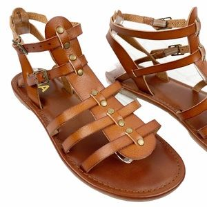 Mia Brown Leather Gladiator Ankle Sandals 7